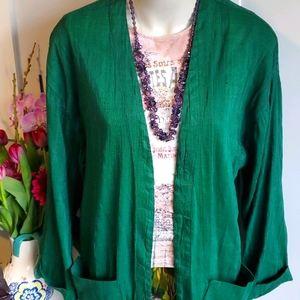 Green raw silk open jacket,  16 or XL